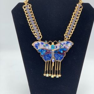 Betsey Johnson XL Purple Blue Butterfly Necklac